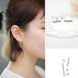 【PS Mall】氣質珍珠水鑽長款4件套耳飾(G1754)