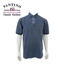 【FANTINO】男款 仿舊刷布polo棉衫 (丈青) 431329
