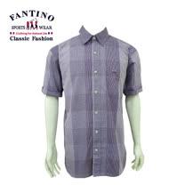 【FANTINO】男款 奢華格紋休閒襯衫 (紫格) 334510
