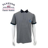 【FANTINO】 男款 品味條紋休閒 polo衫 (灰底黑條) 331710
