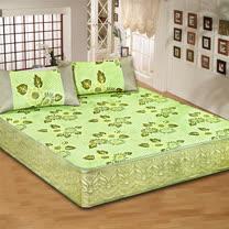 《KOSNEY 綠彩》加大床包式亞藤蓆3件組台灣精製