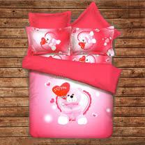 《KOSNEY 示愛粉熊》頂級雙人天絲絨四件式床包被套組