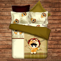 《KOSNEY 獅子愛娃娃》頂級加大天絲絨四件式床包被套組