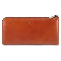 SIKA義大利時尚牛皮拉鍊長夾A8299-01原味紅褐+贈鑰匙環