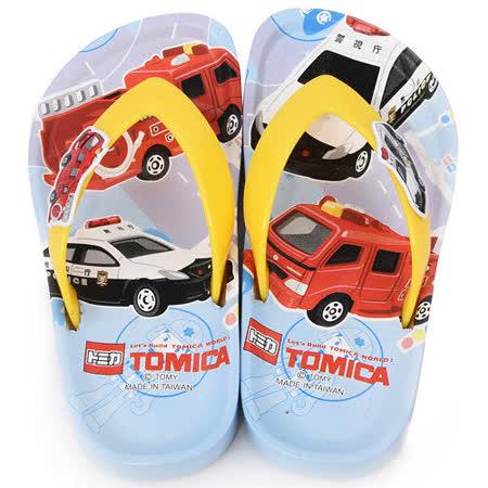童鞋城堡-Tomica多美 中童 不對稱帥氣夾腳拖TM0825-藍