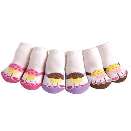 美國 Jazzy Toes 時尚造型棉襪/止滑襪/假鞋襪_三入禮盒組_杯子蛋糕組(JT3-02)