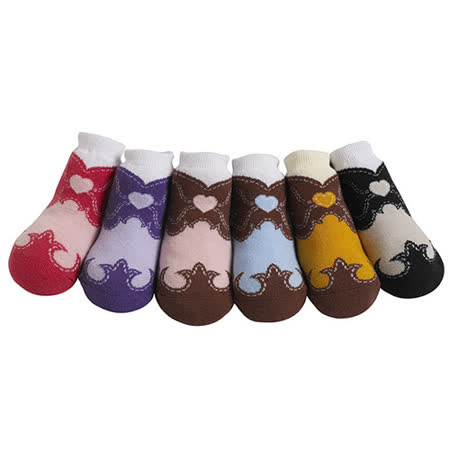 美國 Jazzy Toes 時尚造型棉襪/止滑襪/假鞋襪/嬰兒襪六雙入禮盒組_女牛仔靴襪(JT6-03)