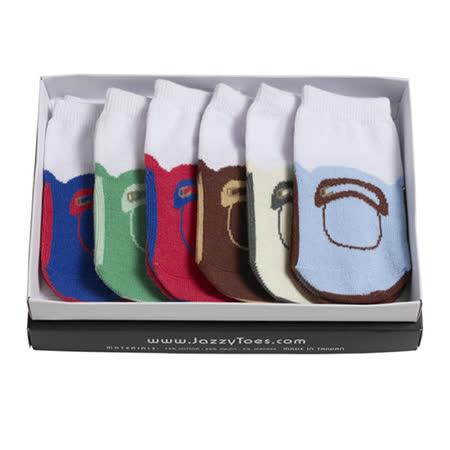 美國 Jazzy Toes 時尚造型棉襪/止滑襪/假鞋襪/嬰兒襪六雙入禮盒組_男款平底鞋造型襪(JT6-05)