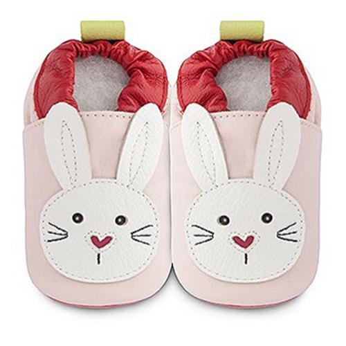 英國 shooshoos 健康無毒真皮手工鞋/學步鞋/嬰兒鞋_淡粉/白色小兔_#SPB25(公司貨)