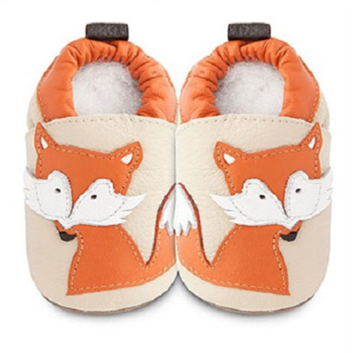 英國 shooshoos 安全無毒真皮手工鞋/學步鞋/嬰兒鞋_米色/橘狐狸(公司貨)