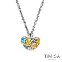 【TiMISA】絢麗典藏-寵愛 (黃粉) 純鈦項鍊(SB)