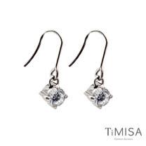 【TiMISA】純淨光芒-透亮白 純鈦耳環一對