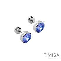 【TiMISA】璀璨晶鑽-藍紫 純鈦耳針一對