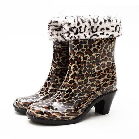 【Maya Easy】下雨不怕破壞OL造型 高跟雨鞋上市-動物紋款 (附贈 可拆式 棉鞋套)