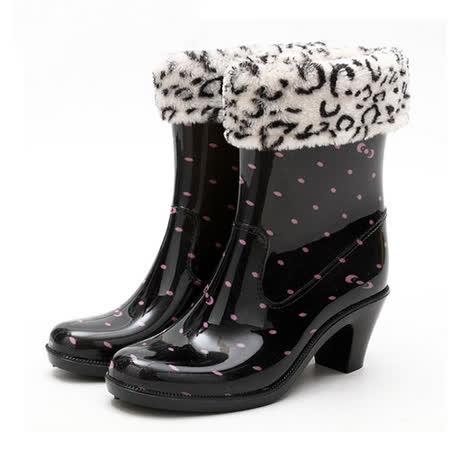 【Maya easy】下雨不怕破壞OL造型 高跟雨鞋上市-粉點款 (四季都可穿, 鞋套可拆)