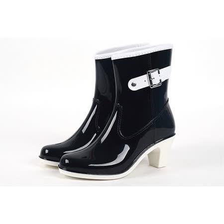 【Maya easy】上班族 下雨不怕破壞OL造型 高跟雨鞋上市-黑色