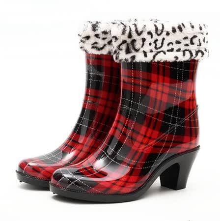 【Maya easy】下雨不怕破壞OL造型 高跟雨鞋上市-紅格款 (四季都可穿, 鞋套可拆)