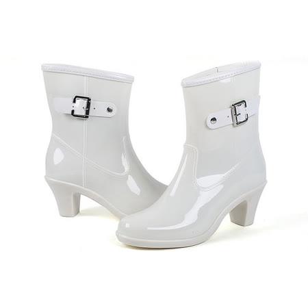 【Maya easy】上班族 下雨不怕破壞OL造型 高跟雨鞋上市-白色