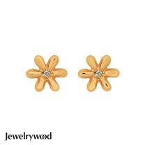 Jewelrywood 純銀優雅雛菊鑽石耳環(金)