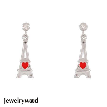 Jewelrywood 純銀浪漫巴黎鐵塔鑽石耳環