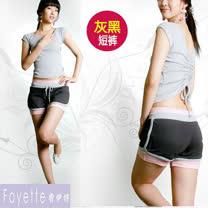 【Fayette 費伊特】瑜珈套裝 二件套 上身加褲子 具彈力-短袖-灰上衣/黑短褲