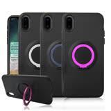 [iX組合] VXTRA iPhone X 黑炫風指環扣支架手機殼+GLA iPhone X 疏水疏油9H鋼化玻璃貼