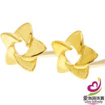 [ 愛無限珠寶金坊 ]  0.27 錢 一 對 - 花之情 - 黃金耳環-999.9