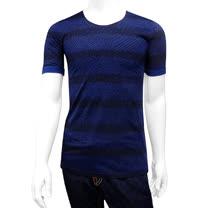 BURBERRY 條紋男性短袖上衣(深藍色/S號)