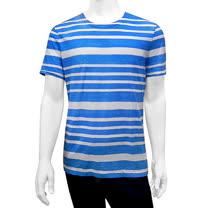 BURBERRY 條紋純棉男性短袖上衣(藍色/S號)