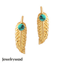 Jewelrywood 純銀吉普賽金羽毛綠松石耳環
