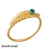 Jewelrywood 純銀吉普賽金羽毛綠松石戒指