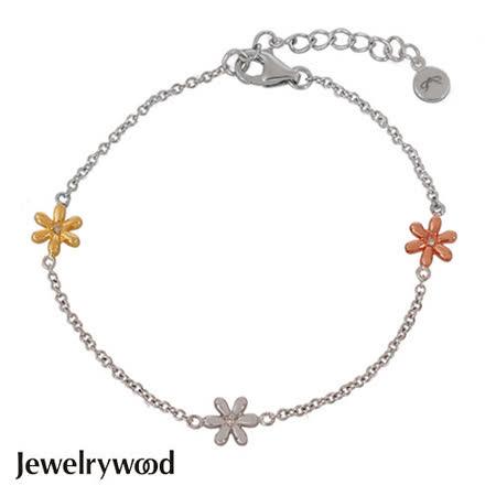 Jewelrywood 純銀優雅雛菊三色鑽石手鍊