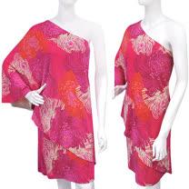 GUCCI 印花圖樣單肩水袖洋裝(XL號/桃紅色)