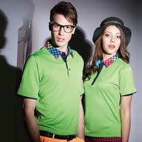 【LEIDOOE】立領格紋拼接男版短袖POLO衫(16526)綠色