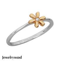 Jewelrywood 純銀優雅雛菊鑽石戒指(金)