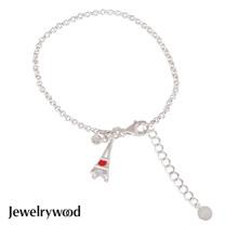 Jewelrywood 純銀浪漫巴黎鐵塔鑽石手鍊