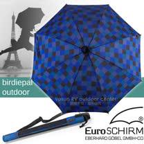 【德國 EuroSCHIRM】《登山款》全世界最強的雨傘!!! SWING HANDFREE 戶外專用風暴傘/抗導電.質輕.強韌/非折疊傘_方格黑藍 W208-CWS6