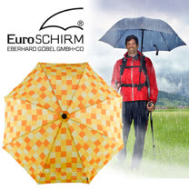 【德國 EuroSCHIRM】《登山款》全世界最強的雨傘!!! SWING HANDFREE 戶外專用風暴傘/抗導電.質輕.強韌/非折疊傘_方格亮黃 W2H6-CWS3