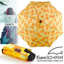 【德國 EuroSCHIRM】全世界最強的雨傘!!! DAINTY 抗UV輕便口袋傘/戶外風暴傘.玻璃纖維折疊傘(UPF50+)/輕巧迷你晴雨傘/方格亮黃 1028-CWS3