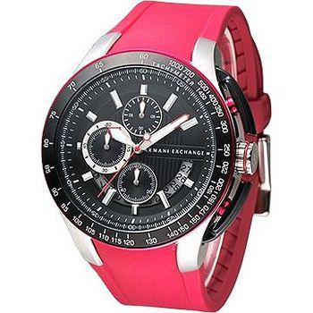 A│X Armani Exchange 重機型男計時運動錶 -橡膠紅