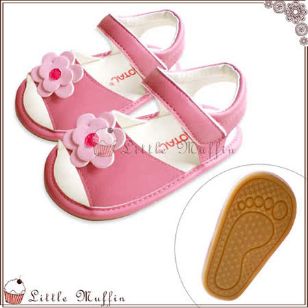學步鞋 粉紅小花朵魔鬼氈 止滑膠底外出涼鞋