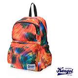 KANGOL 英國袋鼠 「JUNGLE」機能時尚棕欖葉圖騰後背包-橘KG1111-H