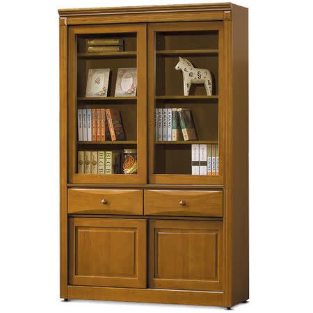 MY傢俬 英式古典4尺推門中抽實木書櫃