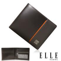 ELLE HOMME 嚴選義大利頭層皮系列 8卡法式精品短夾 -咖啡 EL81961-45
