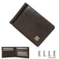ELLE HOMME 法式精品 名片短皮夾 嚴選義大利頭層皮 -咖啡 EL81987-45