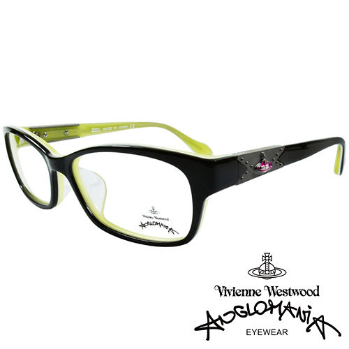 Vivienne Westwood 英國Anglomania復古感 鉚釘光學眼鏡 黑 綠
