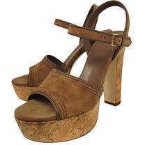 GUCCI 麂皮厚底高跟鞋-咖啡色(37.5號)