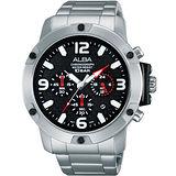 ALBA Active 即動傳說 計時藍寶石鏡面腕錶(銀_45mm) VD53-X218D