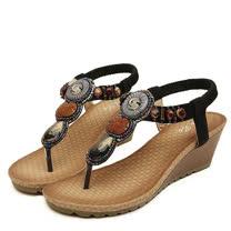 【Maya easy】仿瑪瑙串土耳其風夾腳坡跟涼鞋/ 海灘鞋 (黑色)