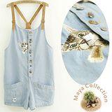【Maya Collection】皮肩帶可調整 水洗牛仔綿料 吊帶褲-精繡貓咪款